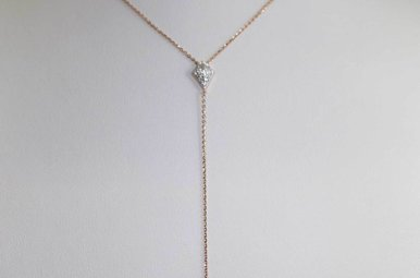14KR .19CTW ADJUSTABLE DIAMOND Y NECKLACE