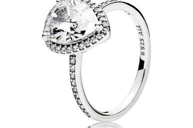 PANDORA Ring, Radiant Teardrop, Sterling Silver & Clear CZ - Size 56