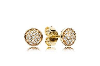 PANDORA Stud Earrings, 14k Dazzling Droplets, Clear CZ