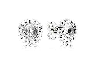 PANDORA Stud Earrings, Radiant PANDORA Logo, Clear CZ