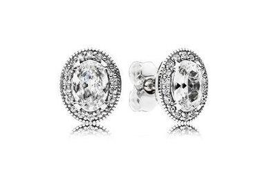 PANDORA Stud Earrings, Vintage Elegance, Sterling Silver & Clear CZ