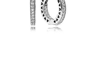 PANDORA Hoop Earrings, Hearts of PANDORA, Clear CZ