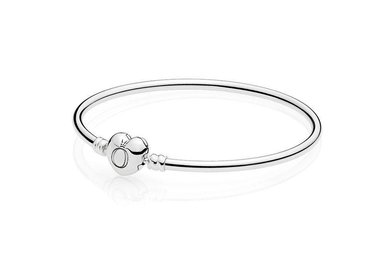 PANDORA Moments Silver Bangle Bracelet, Heart Logo Clasp - 21 cm / 8.3 in