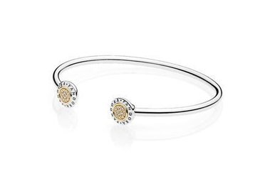 PANDORA Signature Bangle, Sterling Silver & 14k, Clear CZ - 17.5 cm / 6.9 in