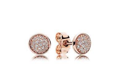 PANDORA Dazzling Droplets Stud Earrings, PANDORA Rose & Clear CZ