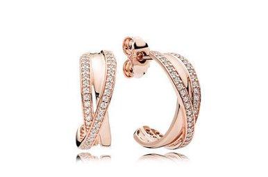 PANDORA Entwined Hoop Earrings, PANDORA Rose & Clear CZ