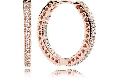 PANDORA Hoop Earrings, Hearts Of PANDORA, PANDORA Rose & Clear CZ