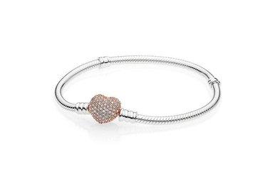 PANDORA Bracelet Sterling Silver, PANDORA Rose Pavé Heart Clasp - 19 cm / 7.5 in