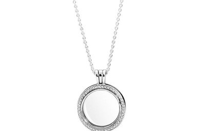 PANDORA Sparkling Floating Locket, Sapphire Crystal Glass & Clear CZ - 60 cm / 23.6 in