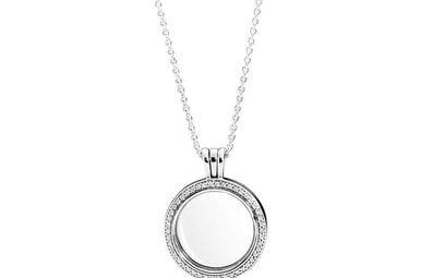 PANDORA Sparkling Locket, Medium, Sapphire Crystal Glass & Clear CZ - 60 cm / 23.6 in