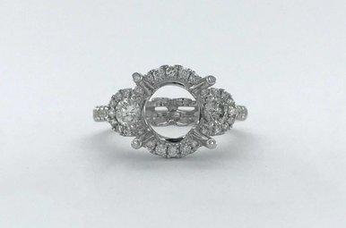 18k White Gold .67ctw Diamond Round Halo 3-Stone Semi Mount Engagement Ring (Size 6.5)