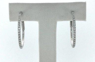 18k White Gold 0.36ctw Diamond Hoop Earrings