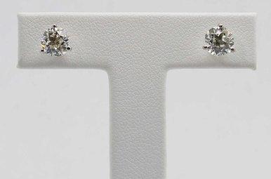 14KW 1.7CTW J/SI1 GIA EUROPEAN DIAMOND STUD EARRINGS, MARTINI SETTINGS