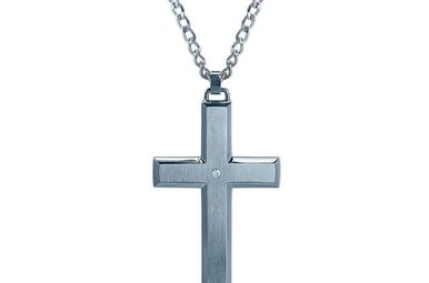 Stainless Steel Diamond Cross Pendant with 24″ Curb Chain
