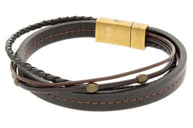 Brown Leather Bracelet with Stainless Steel Clasp