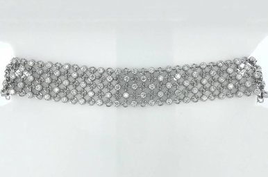 14k White Gold 3.66ctw Diamond (VS) Flexible Round Link Tennis Bracelet 7""