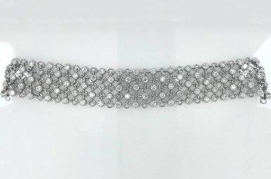 "14k White Gold 3.66ctw Diamond (VS) Flexible Round Link Tennis Bracelet 7"""