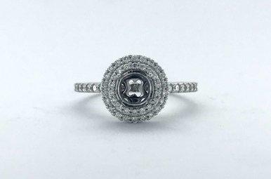 14k White Gold .52ctw Diamond Round Double Halo Semi Mount Engagement Ring (Size 7)