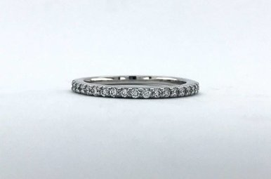 14k White Gold .27ctw Diamond Stackable Wedding Band (Size 7)