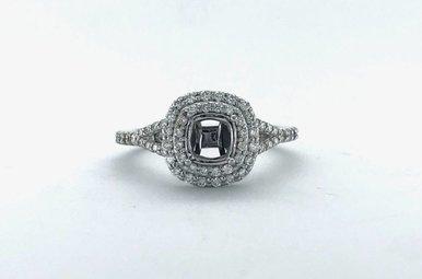14k White Gold .46ctw Diamond Double Halo Split Shank Semi Mount Engagement Ring (Size 7)