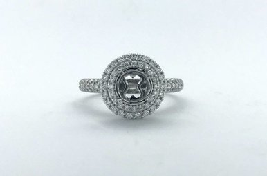 14k White Gold .75ctw Diamond Double Halo Pave Semi Mount Engagement Ring (Size 7)