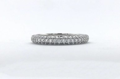 14k White Gold .36ctw Diamond Pave Stackable Wedding Band (Size 7)
