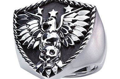Men's Sterling Silver Eagle Shield Ring with Black Oxidized Finish