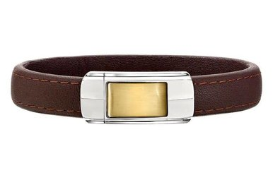 Stainless Steel Brown Leather Gents Bracelet with Yellow IP Magnetic Clasp