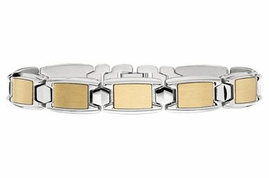 Stainless Steel Gents Bracelet with Yellow Insert