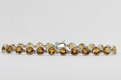 14KW 10.8CTW CITRINE BEZEL SET LADIES BRACELET