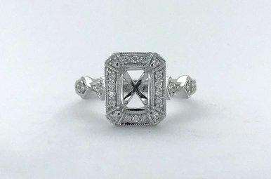 14k White Gold .26ctw Diamond Emerald Vintage Halo Milgrain Semi Mount Engagement Ring (Size 6)