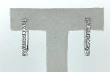 14k White Gold .37ctw Diamond Rectangle Hoop Earrings