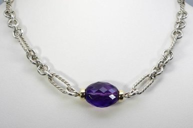DAVID YURMAN 18KY/SS AMETHYST LADIES NECKLACE
