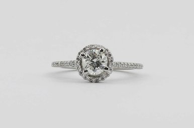 14KW .56CT-CTR 9/10CTW HALO ENGAGEMENT RING WITH ROUND BRILLIANTS
