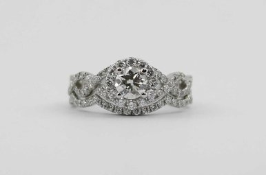 14KW .51CT-CTR 1.63CTW HALO ENGAGEMENT WEDDING SET WITH ROUND BRILLIANTS