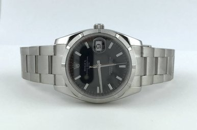 Rolex Stainless Steel Date Black Dial 36mm Oyster Bracelet Watch