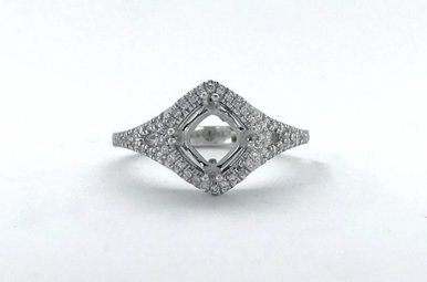 14k White Gold .23ctw Diamond Halo Cushion (5.5mm) Split Shank Semi Mount Engagement Ring