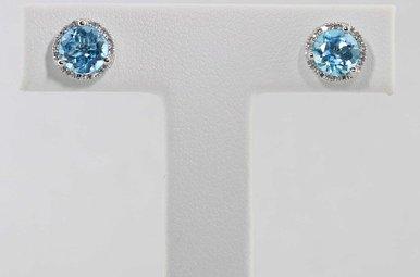 14KW .08CTW-DIA BLUE TOPAZ & DIAMOND HALO STUD EARRINGS