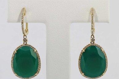 14KY .33CTW-DIA GREEN AGATE & DIAMOND DANGLE EARRINGS