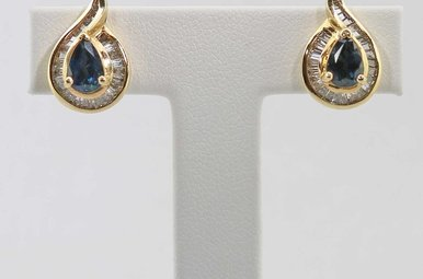 14KY 1CTW-DIA BLUE SAPPHIRE & BAGUETTE DIAMOND EARRINGS
