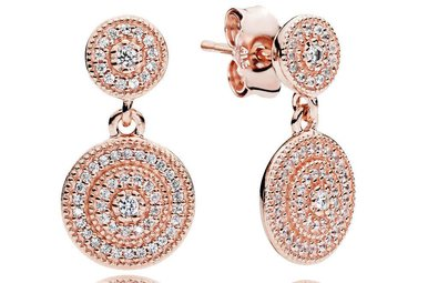 PANDORA Earrings Radiant Elegance, Clear CZ PANDORA Rose