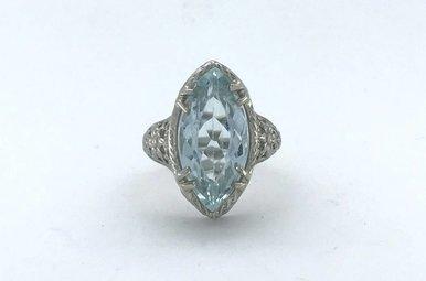 18k White Gold Marquise Aquamarine (16x8) Vintage Style Ring (Size 3.5)
