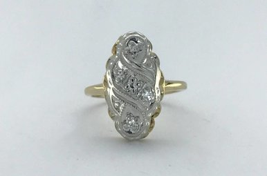 14k Two-Tone White/Yellow Gold 1/10ctw Diamond (GH/VS Single cut) Vintage Ring (Size 4)