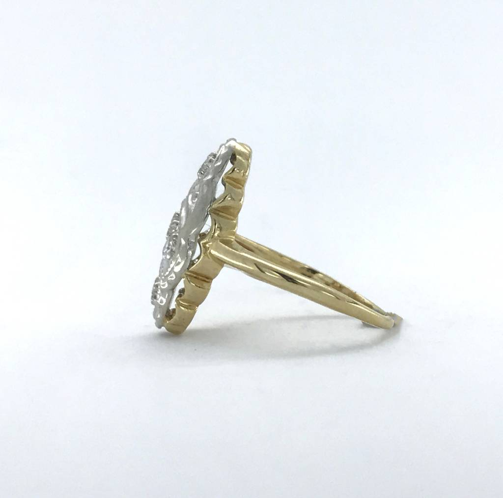 Brentwood 14k Two-Tone White/Yellow Gold 1/10ctw Diamond (GH/VS Single cut) Vintage Ring (Size 4)
