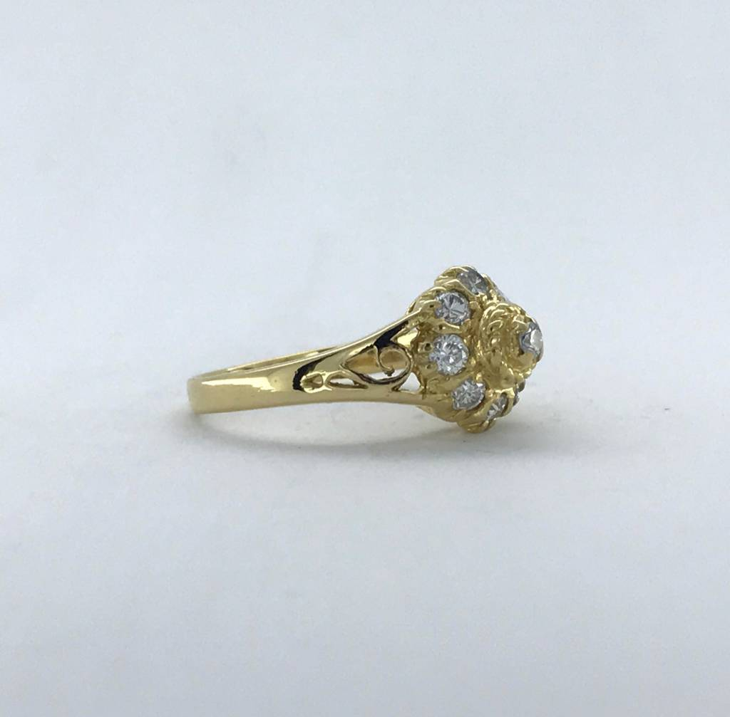 Brentwood 18k Yellow Gold 1/3ctw Diamond Vintage Ring (Size 4)
