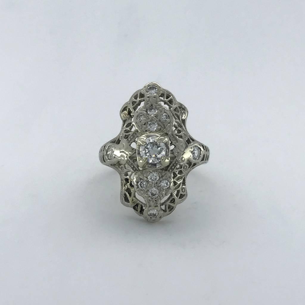 Brentwood 14k White Gold 1/2ctw Diamond Vintage Ring (Size 5)