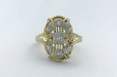 14k Two-Tone White/Yellow Gold .15ctw Diamond (Single Cut) Vintage Signet Ring (Size 6)