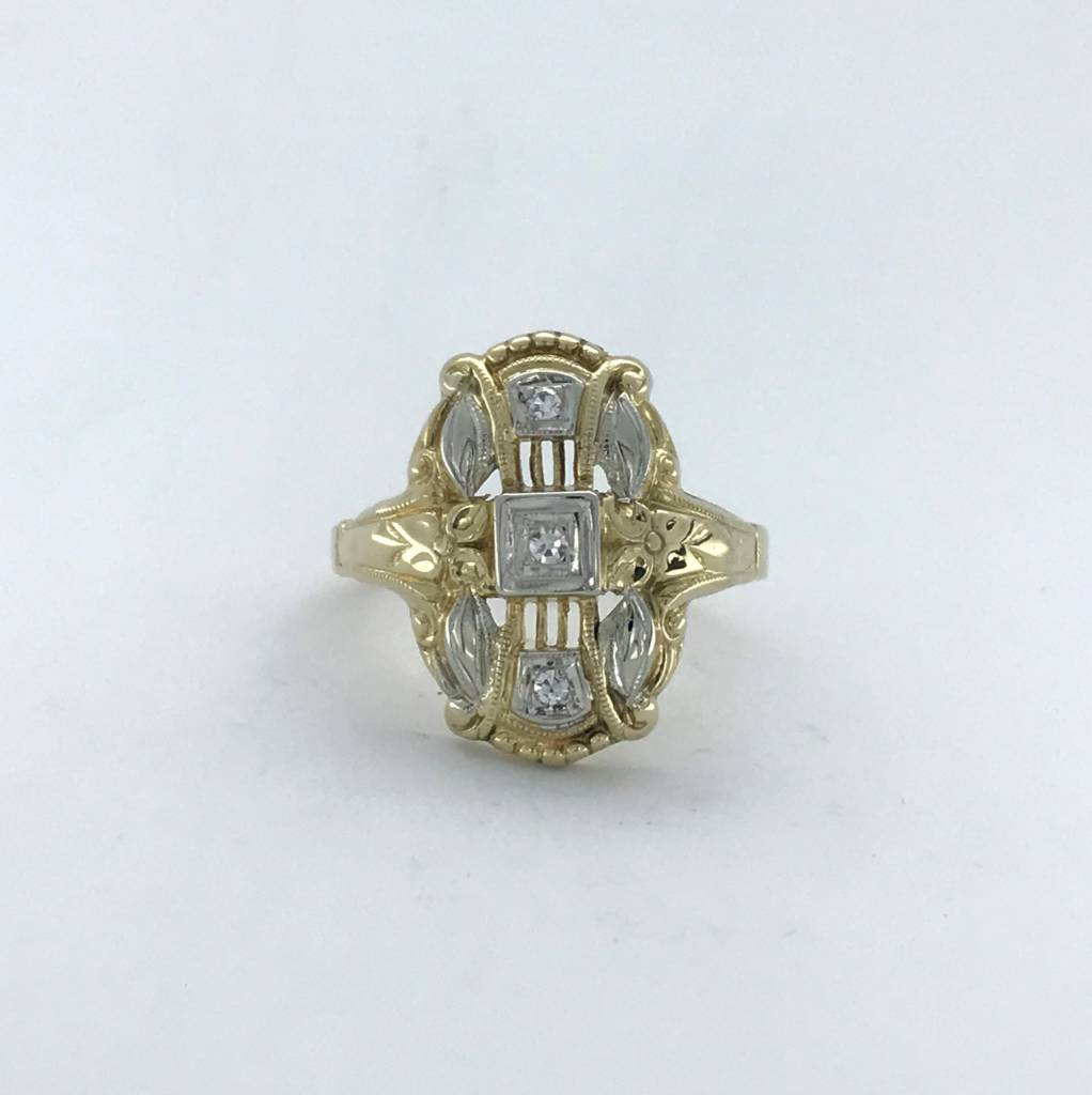 Brentwood 14k Two-Tone White/Yellow Gold .15ctw Diamond (Single Cut) Vintage Signet Ring (Size 6)
