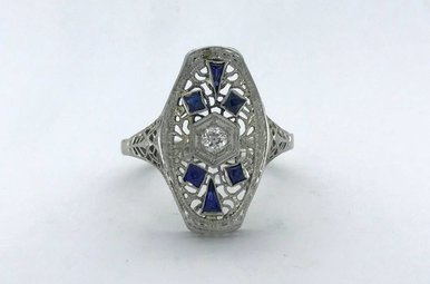 18k White Gold 1/6ct Old European Cut Diamond & Sapphire Vintage Signet Ring (Size 9)