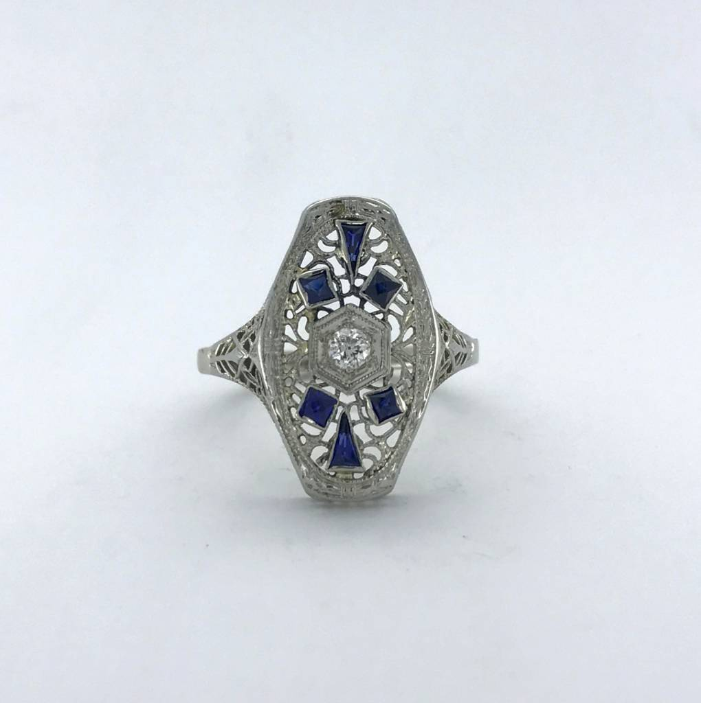Brentwood 18k White Gold 1/6ct Old European Cut Diamond & Sapphire Vintage Signet Ring (Size 9)